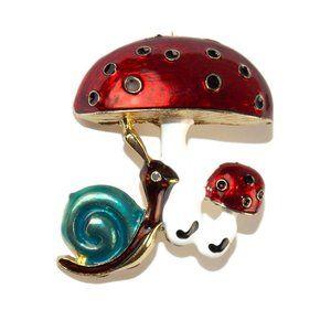 Large Mushroom Snail Brooch Whimsical Shroom Pin